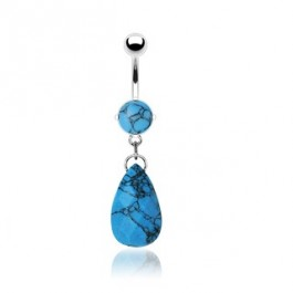 Piercing za v popek s prelepo modro kamnito solzico.