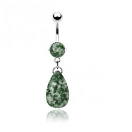 Piercing za v popek s prelepo zelenkasto kamnito solzico